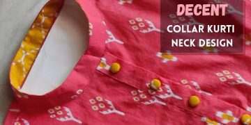 Collar Kurti Front Neck Design with Button Placket /Easy Collar Cutting 15