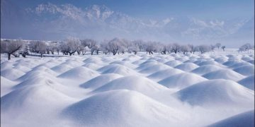 Beautiful Skardu covered with heavy snow in Baltistan Pakistan. 2