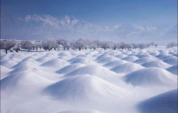 Beautiful Skardu covered with heavy snow in Baltistan Pakistan.