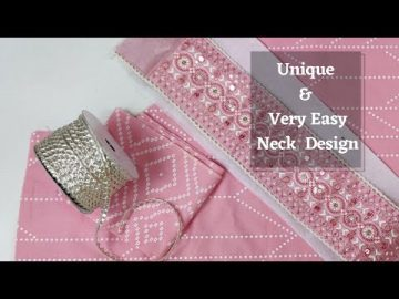 Extremely Easy Gota Lace Kurti Front Neck Design 7