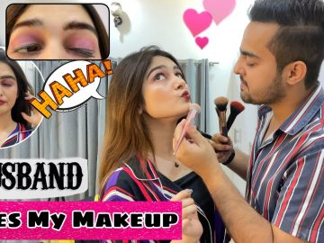 My Husband Does My Makeup Challenge!! || Pass OR Fail??? FUNNY😂 4